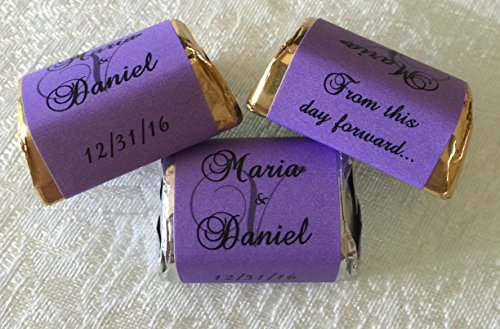 - 300 PURPLE Personalized MONOGRAM WEDDING CANDY WRAPPERS/Stickers/Labels (Make your own event or party favors using your HERSHEY NUGGET CHOCOLATES)