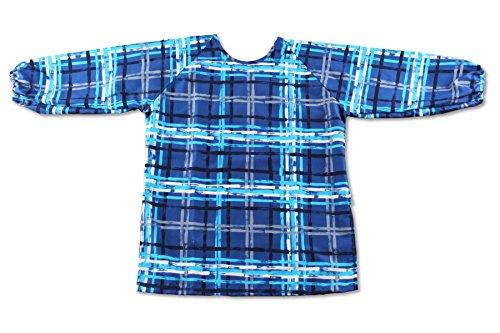 Twinklebelle Kid's Long Sleeve Fabric Art Smock, Size Adjustable, Water Resistant (M: 3 - 5 Years, Blue Plaid)