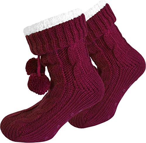Damen Socken mit ABS Sohle Innenfell Extra dicke Haussocken Anti Rutsch Sohle Farbe Bordeaux Größe 36/40