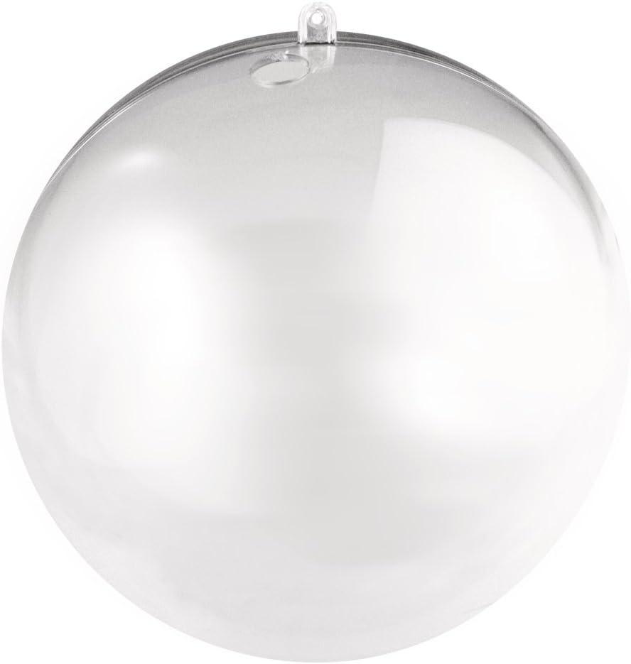 18 cm mit 15 mm Loch f/ür LED Kette kristall RAYHER 3946337 Plastik-Kugel 2 -teilig