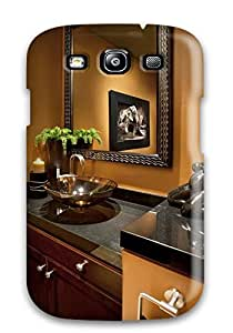 New Arrival Bold Orange Powder Room With Black Granite And Vessel Sink For Galaxy S3 Case Cover