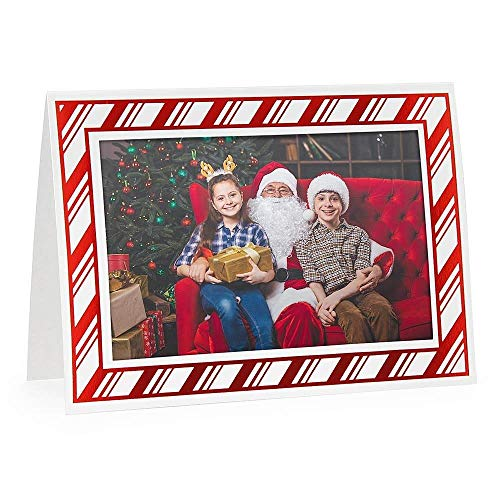 - Embossed CANDY CANE premium photo insert Holiday Card sold in 10s - 4x6