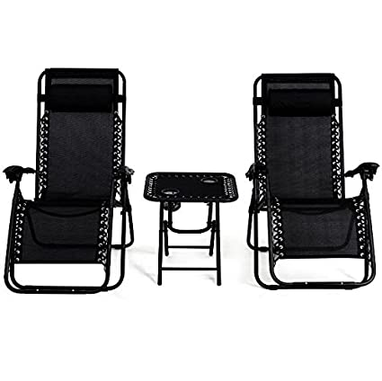 Fine Amazon Com 3Pcs Black Zero Gravity Recliner Chaise Lounge Uwap Interior Chair Design Uwaporg