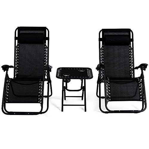 - 3PCS Black Zero Gravity Recliner Chaise Lounge Chair Portable Folding Table 2 Cup Holders Foldable Design Patio Outdoor Garden Yard Camping Picnic Pool Beach Décor Furniture Steel Tubes Construction