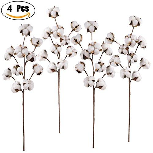 4 Pack Artificial Cotton Stems - Lvydec 21