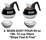 2 Bunn Easy Pour Pots (Black) w/Stainless Steel Bottom & 100 12-Cup Filters