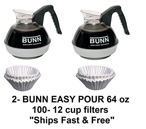 Oz 64 Decanter Black Coffee (2 Bunn Easy Pour Pots (Black) w/ Stainless Steel Bottom & 100 12-Cup Filters)