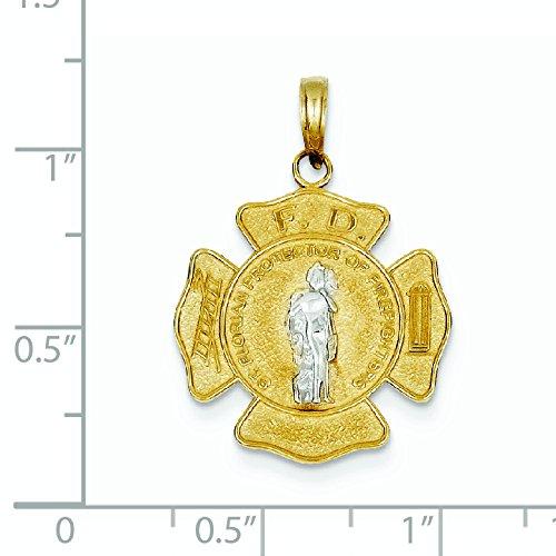 Deux -tone 14 Carats Pendentif Médaille Saint JewelryWeb Florian