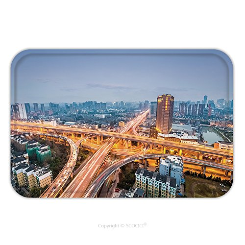 Flannel Microfiber Non-slip Rubber Backing Soft Absorbent Doormat Mat Rug Carpet City Interchange In Nightfall Road Junction Of Urban Expressway Background 414815728 for (Urban Skull Snap)