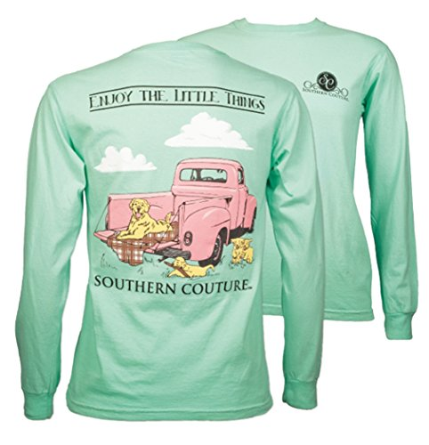 (Southern Couture SC Comfort Enjoy the Little Things Vintage Truck on Long Sleeve Womens Fit Shirt - Island Reef, Medium)
