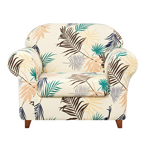 Subrtex 2-Piece Durable Soft High Stretch Leaves Printed Sofa Slipcovers, Furniture Protector Machine Washable Couch Covers, 1 Seater (Chair, Yellow Printed) (Slipcovers Piece Chair 2)
