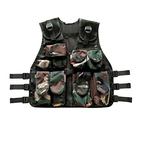 Us Army Woodland Camo (BESTHUNTINER Kids Army Camo Combat Vest Black&US Woodland camo Vest Durable Breathable Tactical Vest 9pockets Fits Ages 5-13 Yrs)