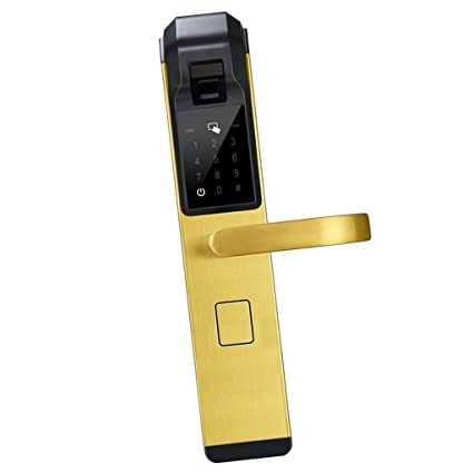 Baoblaze Cerradura Biométrica de Contraseña de Tacto de Huella Digital Electrónica de Puerta Elegante - Dorado