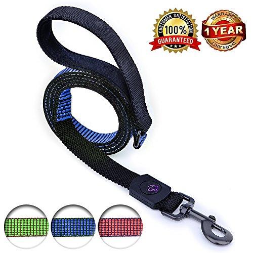 YoTilon Bungee Reflective Dog Leashes For Large Medium Dogs,Durable Mountain Climbing Training Rope,4ft or 6ft long, Shock Absorber,Comfortable Padded Handle,Supports the Strongest Pulling(4ft blue)