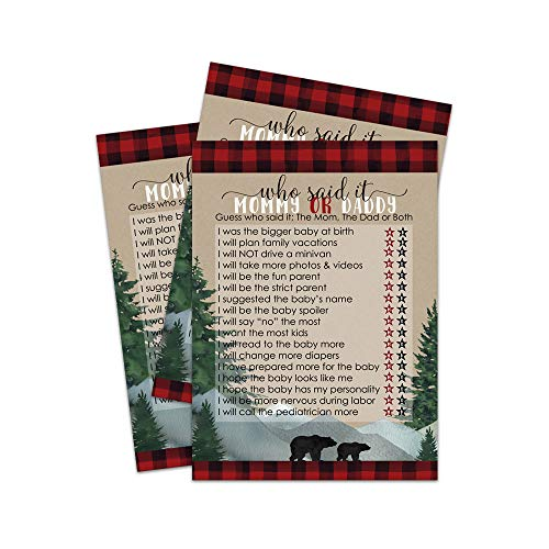 Lumberjack Baby Shower Game Guess Who Mommy or Daddy - Pack of 25]()