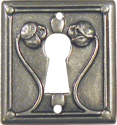 Pewter Finished w/Roses Modern Keyhole Cover Escutcheon Plate - Cabinet, Dresser, Desk Drawers Vintage Old Furniture Restoration Hardware + Free Bonus (Skeleton Key Badge) PW-0234