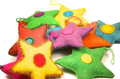 Felted Star Ornaments- 6 pack