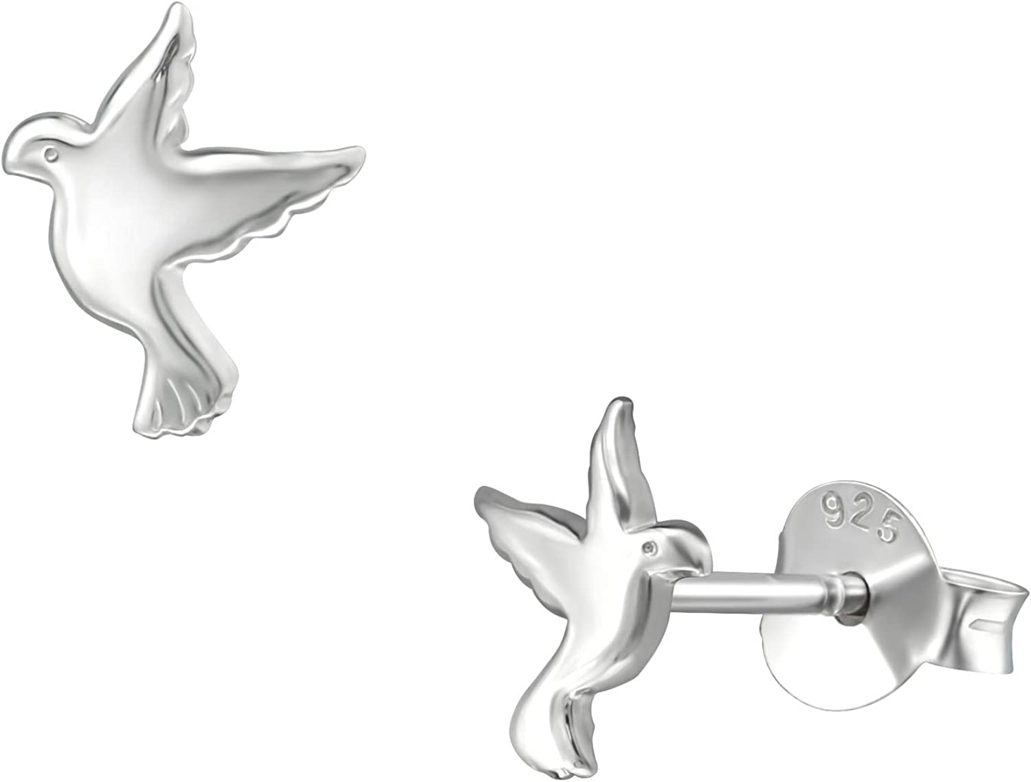 6mm Petite Flying Dove Birds Studs Push Back Solid 925 Sterling Silver Earrings