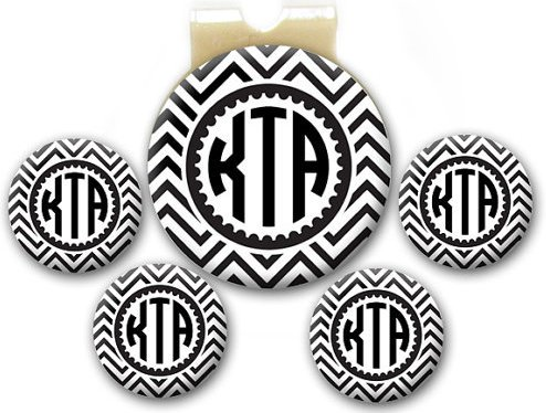 Magnetic Golf Ball Markers - Personalized Chevron Monogram Black - Set of 5 Markers Plus Hat Clip