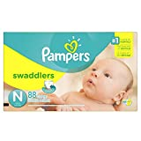 Pampers Swaddlers Diapers Size N for Newborns, Super Pack, 88 Count (Packaging May Vary)