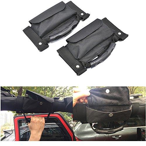 Car Roll Bar Grab Handles With Storage Bag/ Pocket Black For Jeep Jk Wrangler 2007-2016(Pack of 2) - Sunglasses Handle