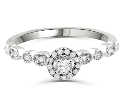 ef309205eb9 Womens Diamond Ring Vintage Style Ornate Halo Solitaire Ring Real ...