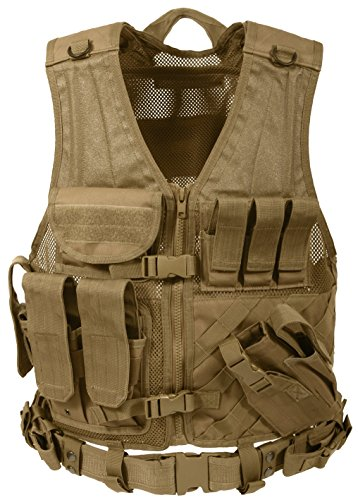 - Rothco Cross Draw MOLLE Tactical Vest, Coyote Brown, Over Size