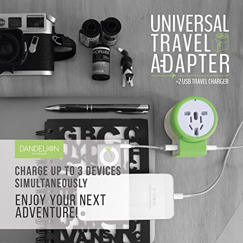 Dandelion-Travel-Adapter-Outlet-Adapter-Traveler-Accessory-Universal-Wall-Charger-2-USB-Ports-UK-USA-AU-Europe-Asia-International-Power-Plug-Adaptor-for-Multiple-Socket-Type-C-A-I-G-Green