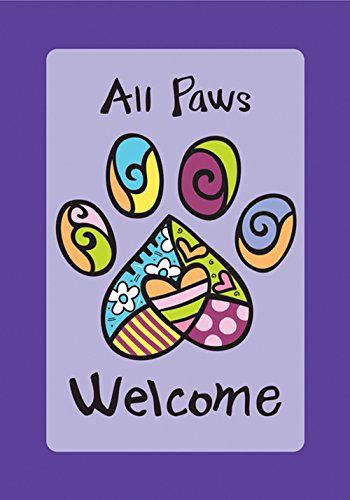 Toland Home Garden All Paws Welcome 28 x 40 Inch Decorative Heart Puppy Dog Kitty Cat Pet House Flag