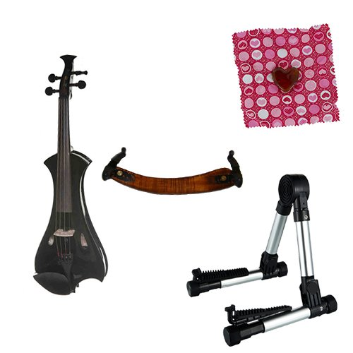 Meisel Electric Violin Pack Black w/Silver Stand, Tuner & Heart Rosin