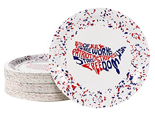 Disposable Plates - 80-Pack Party Paper Plates American Party Supplies for America-Themed, Patriotic Party Favors, USA Map Design, 9 x 9 inches -