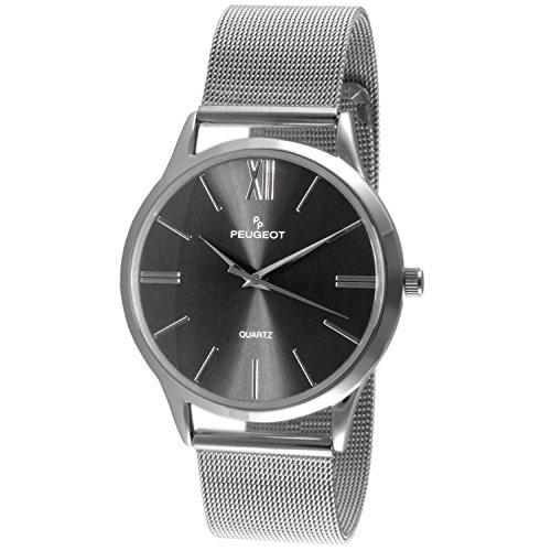 Peugeot Men's 'Mesh Roman Numeral' Quartz Stainless Steel Dress Watch, Color:Silver-Toned (Model: 1052SBK) (Black Titanium Mesh Band)