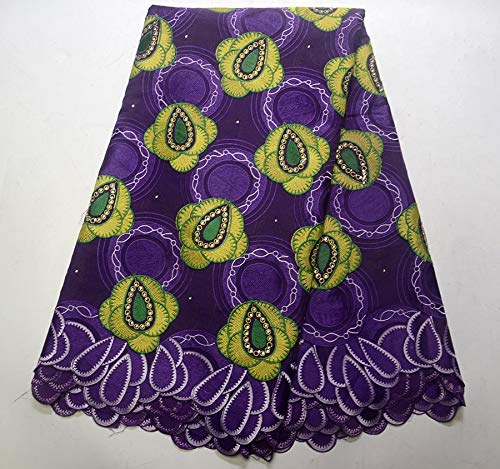 Laliva Nigeria Swiss Laces Swiss Voile Laces Switzerland Cotton African Dry Lace Fabric for Man Women Purple - (Color: 3)