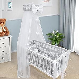 Baby Bedding Set Crib Cradle 3 Pieces Pillow Cover Duvet Cover Bumper to FIT Crib 90x40CM (Elephants Grey)