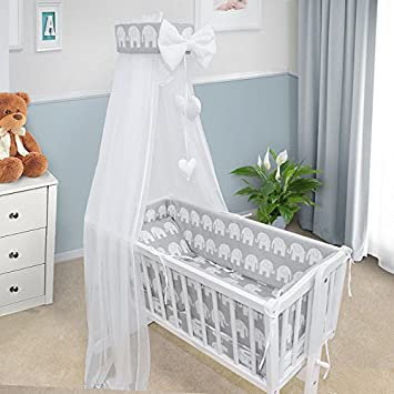BABY BEDDING SET CRIB CRADLE 3 Pieces PILLOW COVER DUVET COVER BUMPER TO FIT CRIB 90x40CM RED HEARTS ON WHITE