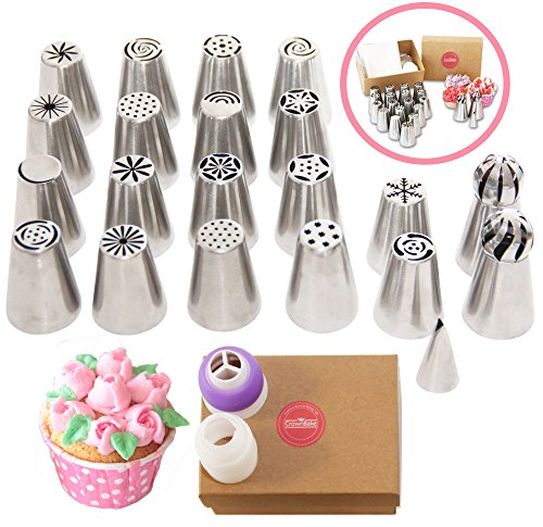 Russian Piping Tips CrownBake DELUXE 33 Pcs Set- 2 Sphere Ball Nozzles, 2 Large Couplers, 10 Disposable Pastry bags - For Cake Cupcake Decorating. Perfect Gift For Bakers - FREE 12 PAGE EBOOK by CrownBake