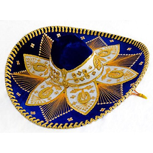 Royal Blue and Gold Mariachi Sombrero by Unknown