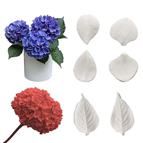 ugar Paste Flower Veining Molds Petal Veiners Leaf Cutter Fontant Mold Cake Craft Tools (hydrangea) (Hydrangea Sugar)