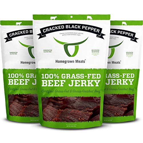 HomeGrown Meats Beef Jerky - Cracked Black Pepper Healthy 100% Grass Fed Gourmet Snacks [3 PK]