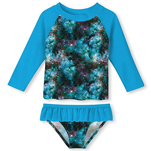 Blue Swimming Suit - Baby Girls Stretchy Neckline Bikini Swimsuit Two Pieces Set Galaxy All Over Print Blue Bathing Suit 2T