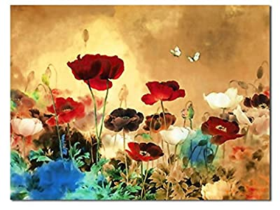 Canvas Print, the Blooming Poppies - Huge Canvas Print, Stretched and Framed, Modern Canvas Wall Art for Home Decoration, Floral Canvas Art, Paintings Style
