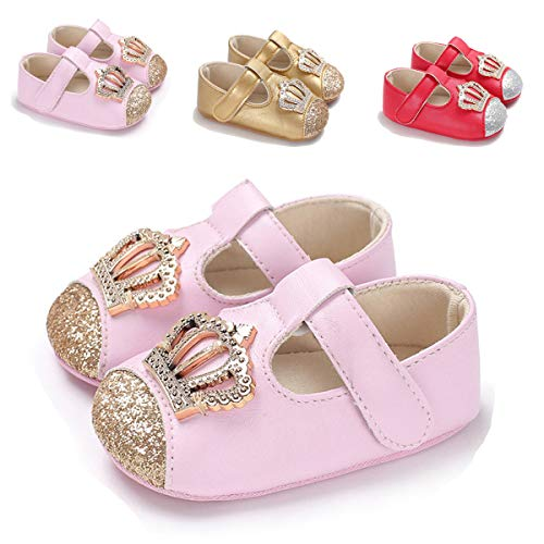 Sakuracan Infant Baby Girls Mary Jane Flats Non-Slip Soft Soled Toddler First Walkers Crib Shoes Princess Dress Shoes (12-18 Months M US Infant, ()