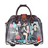 Nicole Lee Women's Stylish Print Bag, Rolling Wheels, Laptop Compartment Travel Tote, Bike Tour, One Size