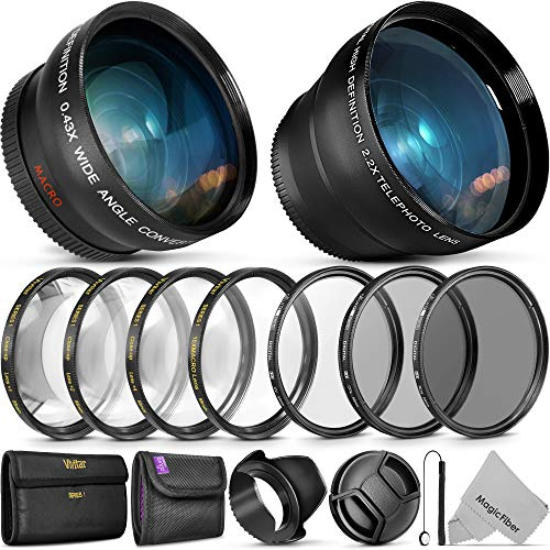 Nikon Dslr Accessories - 55MM Vivitar Essential Lens & Filter Accessory Kit for Nikon AF-P DX 18-55mm and Select Sony Lenses - Bundle with Wide Angle & Telephoto Lenses, Filters Kit & Macro Set, Lens Hood, Cap