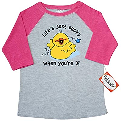 Inktastic Little Boys' Life's Ducky 2nd Birthday Toddler T-Shirt 4T Heather and Hot Pink