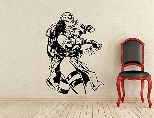 Elektra Wall Decal Superhero Vinyl Sticker Home Art DC Marvel Comics Wall Decor Mural Removable Waterproof Decal (324z) ()