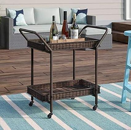 Amazon.com - Etha- Espresso Resin Wicker Two Shelves-Serving Carts ...
