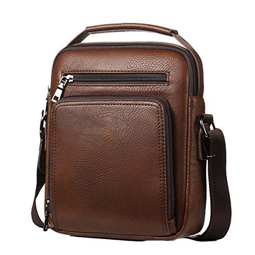 Men's Package Large Briefcase Handbag Messenger Shoulder Bag Brown Casual functional capacity Multi r4qIzUrvxw