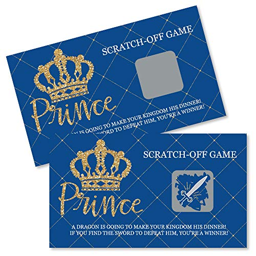 Big Dot of Happiness Royal Prince Charming - Baby Shower or Birthday Party Game Scratch Off Cards - 22 Count