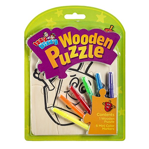 Chanukah Wooden Puzzle Kit - Includes 1 Wood Puzzle Board, 6 Mini Colored Markers - 8